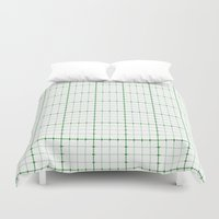 Dotted Grid Weave Green Duvet Cover