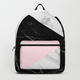 pink black and white geometric marble Backpack