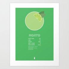 Mojito Cocktail Recipe Poster (Imperial) Art Print