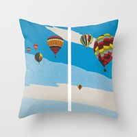 hot air balloons Throw Pillows featuring Hot Air Balloons by Shelley Chandelier