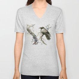 Raven on the Tree, raven desidn crow lover Unisex V-Neck