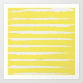 Irregular Stripes Yellow Art Print