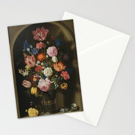 Ambrosius Bosschaerts the Elder - Bouquet of Flowers in a Stone Niche Stationery Cards