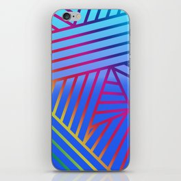 Rainbow Ombre Pattern with Blue Background iPhone Skin