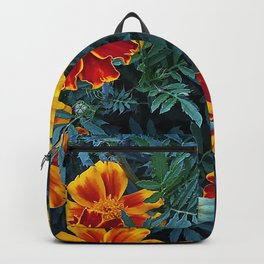 Bright flowers of marigolds Backpack