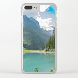 Digital Painting of a Less Popular Side of Lake Louise in Banff National Park, Alberta Clear iPhone Case