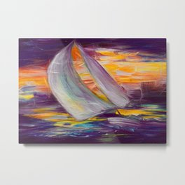 Amber Sloop Sail  Metal Print