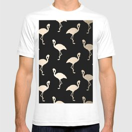 Flamingo Pattern Gold + Black T-shirt