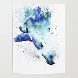 Polar Bear Diving Watercolor Painting- The Plunge Poster