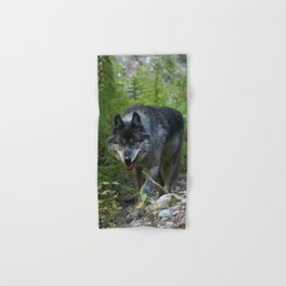Stalking - Alpha Male Grey Wolf Hand & Bath Towel