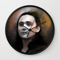 loki Wall Clocks featuring Loki by Kate Dunn
