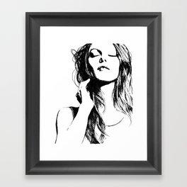 BEAUTIFUL WOMAN FACE, VANESSA PARADIS INK DRAWING Framed Art Print