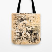 starlord Tote Bags featuring BEFORE STARLORD - SPACE DETECTIVE by PD POP ART