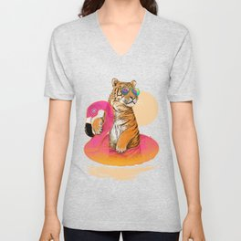 Chillin (Flamingo Tiger) Unisex V-Neck