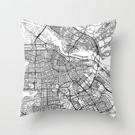 Amsterdam Map White Throw Pillow