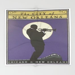 Vintage poster - City of New Orleans Throw Blanket