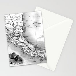 Vintage Map of Panama (1851) BW Stationery Cards
