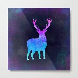 DEER IN SPACE // Animal Graphic Art // Watercolor Canvas Painting // Modern Minimal Cute Metal Print