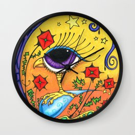 Bird with Poppies Wall Clock