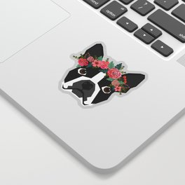 Boston Terrier dog breed with floral crown cute dog gifts pure breed Boston Terriers Sticker