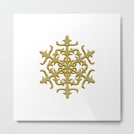 ornament, pattern, decor, gold decor, floral pattern, winter pattern, coldly, jewelry, frosty patter Metal Print