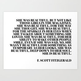 she was beautiful - fitzgerald quote Art Print
