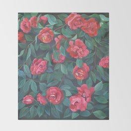 Camellias, lips and berries. Throw Blanket
