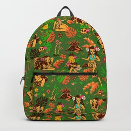 Tiki Temptress on Green Backpack