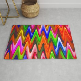 Modern Abstract Art Bright Colorful Waves Pattern Rug