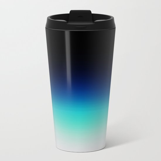 Blue Gray Black Ombre Metal Travel Mug