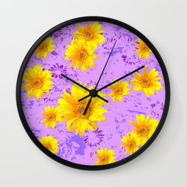 LILAC PURPLE ABSTRACT YELLOW FLOWERS ART Wall Clock