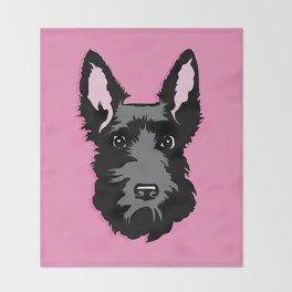 Black Scottie Dog on Pink Background Throw Blanket