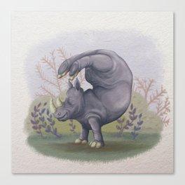 Rhino Yoga - illustration painting gift Canvas Print