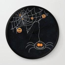 Halloween Spider on Web Wall Clock