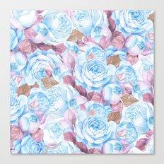 Modern blue lavender watercolor elegant rose floral Canvas Print