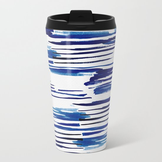 Shibori Paint Vivid Indigo Blue and White Metal Travel Mug