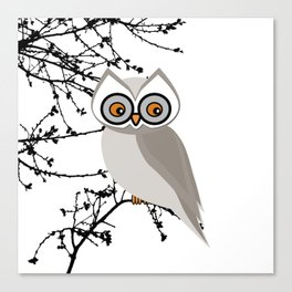 Snowy Winter White Owl Canvas Print