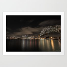 Sydney Harbor Bridge by night Art Print