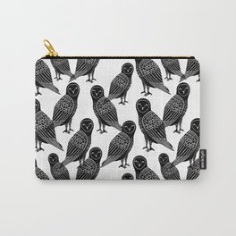 Linocut owl bird black and white minimal nursery pattern gifts birder Carry-All Pouch