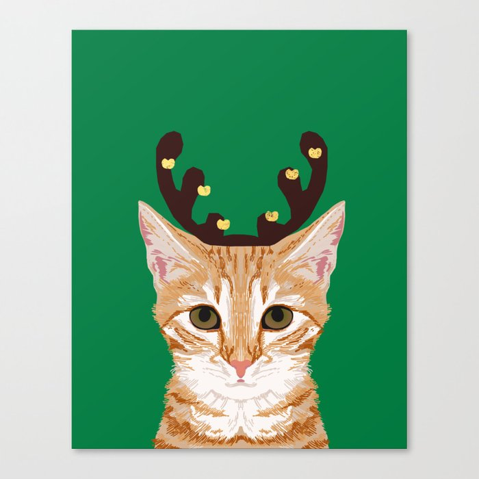 Tabby Cat Reindeer Costume Christmas Holiday Winter Clothes Cute Lady Gift Idea For Holidays Canvas Print By Petfriendly Society6