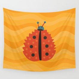Orange Ladybug Autumn Leaf Wall Tapestry