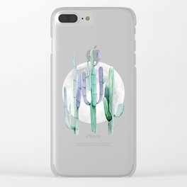 Cactus Nights Full Moon Starry Turquoise by Nature Magick Clear iPhone Case