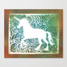 Unicorn Drawing Meditation - Stencil Print #1 Canvas Print