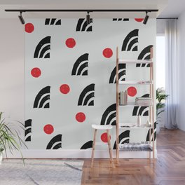 Mid-Century Modern Red Dots and Black Graphic Design Wall Mural