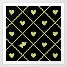 Always Near (from the Valentine set) (colors: midnight lime) Art Print