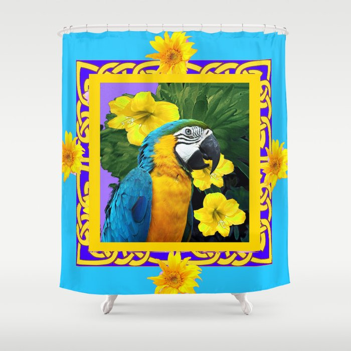 tropical blue gold macaw parrot purple art shower curtain by