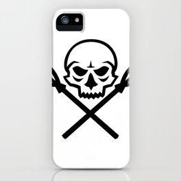 Human Skull Crossed Fishing Spear Mascot iPhone Case