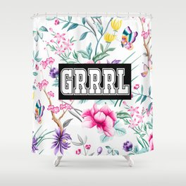 GRRRL - white floral pattern Shower Curtain