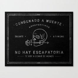 Condenado A Muerte - Black Canvas Print