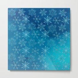 Falling Snowflakes Metal Print